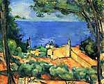 Paul Cézanne: L'Estaque piros háztetőkkel (id: 438) vászonkép