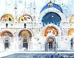Velence Olaszország San Marco kupola akvarell festmény illusztrá (id: 10039) falikép keretezve