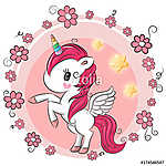 Cute Cartoon Unicorn with flowers (id: 18739) vászonkép