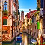Velencei városkép, vízi csatorna, balkáni templom és hagyományos (id: 5139) vászonkép