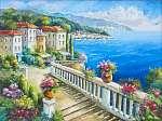Görög tengerpart lakóházakkal (id: 10640) vászonkép óra