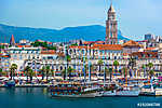 Split Croatia coastal view. / Seafront view at old city center in Split town, Diocletian Palace view from the Adriatic Sea, Croa (id: 16340)