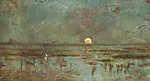Horgász holdfénynél (id: 19940) vászonkép óra