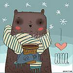 aranyos medve kakaócsészével. (id: 4540) tapéta