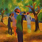 August Macke: Hölgy zöld kabátban (id: 11241) falikép keretezve
