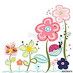 Abstract decorative spring flowers greeting card vászonkép, poszter vagy falikép