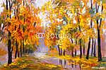 olajfestmény táj - őszi erdő, tele elhullott levelekkel, c (id: 4841) poszter