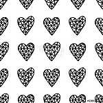 Hand Drawn Hearts Pattern (id: 15042) vászonkép