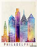 Philadelphia landmarks watercolor poster (id: 15242) vászonkép óra