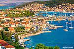 Town Trogir cityscape aerial. / Aerial view at town Trogir in Croatia, small tourist town in suburb of Split, Dalmatia region. (id: 16342) vászonkép óra