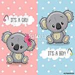 Baby Shower greeting card with Koalas boy and girl (id: 18942) vászonkép