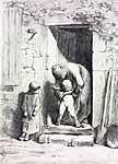 Jean-François Millet: Anyai gondoskodás- színverzió 1. (id: 3842) falikép keretezve