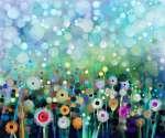 Absztrakt virágos vízfestmény. Kézi festék Sárga és fehér (id: 9042) vászonkép óra