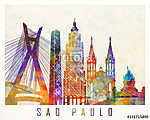 Sao Paulo landmarks watercolor poster (id: 15243) falikép keretezve