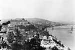 Kilátás a Gellérthegyről a Királyi Palota és a Széchenyi Lánchíd felé (1907) (id: 19743) falikép keretezve
