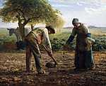 Jean-François Millet: Burgonya ültetők - színverzió 1. (id: 3843) többrészes vászonkép