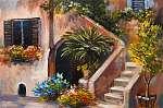 olajfestmény - nyári terasz, színes virágok a kertben, hou (id: 4843) vászonkép óra