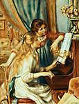 Fiatal lányok a zongoránál /blue version/ (id: 5543) vászonkép óra