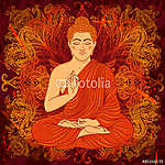 Vintage poster with sitting Buddha on the grunge background. Ret vászonkép, poszter vagy falikép