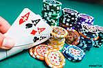 Póker zsetonok és kártyák (id: 6043) falikép keretezve