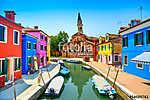 Velencei mérföldkő, Burano csatorna, házak, templom és csónakok, (id: 11844) poszter