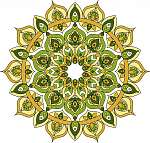 Vector ornate green and yellow mandala illustration vászonkép, poszter vagy falikép