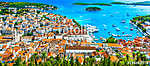 Hvar island panorama landscape. / Panorama of amazing coastal town Hvar in Croatia, popular mediterranean tourist resort in summ (id: 16344)