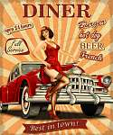 American Diner vintage poster with retro car and pin-up girl. vászonkép, poszter vagy falikép