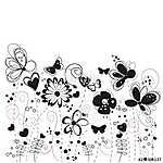 Black and white decorative abstract spring flowers illustration vászonkép, poszter vagy falikép