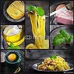 Pasta carbonara kollázs (id: 4744) vászonkép óra