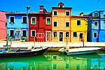 Velence,Burano sziget-csatorna, színes kikötő házai (id: 5144) bögre