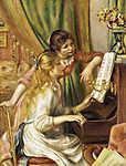 Pierre Auguste Renoir: Fiatal lányok a zongoránál /color version/ (id: 5544) falikép keretezve