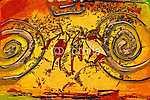 afro motívum etnikai retro vintage (id: 7344) falikép keretezve