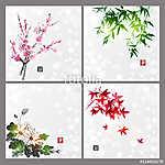 Négy évszakot tartalmazó kompozíciók készlete. Sakura ág, ba (id: 10545) poszter