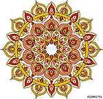 Vector ornate orange mandala illustration (id: 13045) poszter