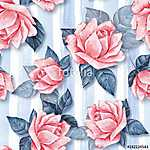 Floral seamless pattern 27. Watercolor background with beautiful (id: 14145) vászonkép óra