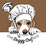 The poster with the image of dog Beagle in the hat of chef and w (id: 14445)