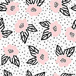 Hand Drawn Flowers Seamless Pattern (id: 15045) falikép keretezve