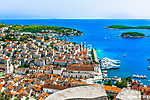 Hvar Mediterranean summer sea. / Aerial view at summer vivid colorful scenery in Croatia, Hvar town, famous luxury travel destin vászonkép, poszter vagy falikép