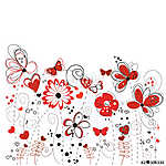 Red and black decorative abstract spring flowers illustration vászonkép, poszter vagy falikép