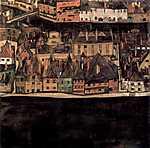 Egon Schiele: Kisváros (id: 3045) vászonkép óra