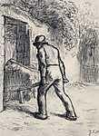 Jean-François Millet: Talicskát toló férfi (tanulámy) - színverzió 1. (id: 3845) falikép keretezve