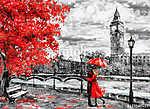 vászon olajfestmény, londoni út. Alkotás. Big Ben. Férfi (id: 10246)
