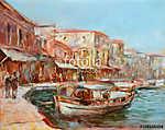 Csónakok a sziget kikötőjén, kézzel készített festészet (id: 10846) falikép keretezve
