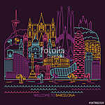 Barcelona skyline detailed silhouette. Vector line illustration (id: 14946)