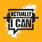 Actually I Can. Inspiring Workout and Fitness Gym Motivation Quote Illustration Sign. Creative Strong Sport Vector vászonkép, poszter vagy falikép