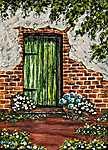 Zöld ajtó (id: 17946) vászonkép óra