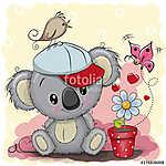 Cute cartoon Koala with flower (id: 18946) falikép keretezve