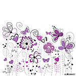 Purple and lilac decorative abstract spring flowers illustration vászonkép, poszter vagy falikép