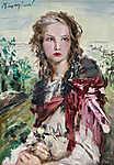 Náray Aurél : Lány sárga rózsával (id: 19846) poszter
